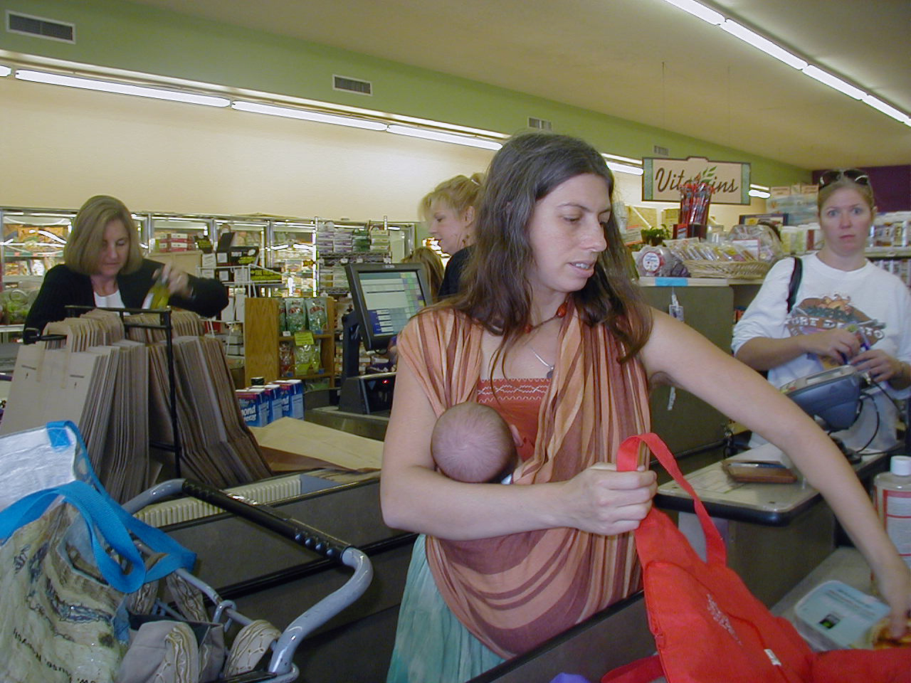Nursing in th FCC While Bagging Groceries