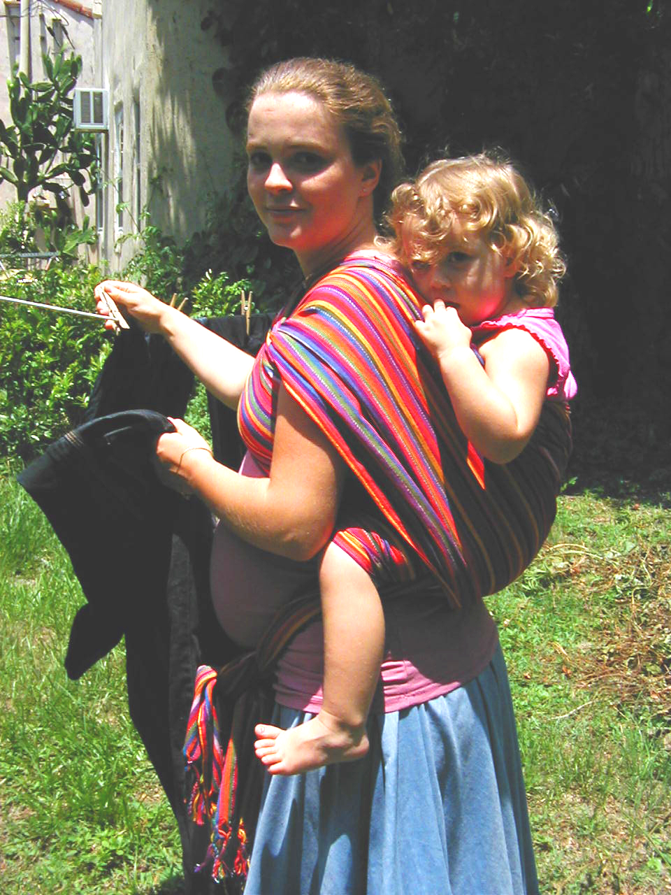 Babywearing and hanging laundry while pregnant!
