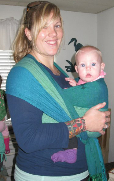 Abbreviated Front Wrap Cross Carry--short wrap tied under the baby's bottom instead of in the back.
