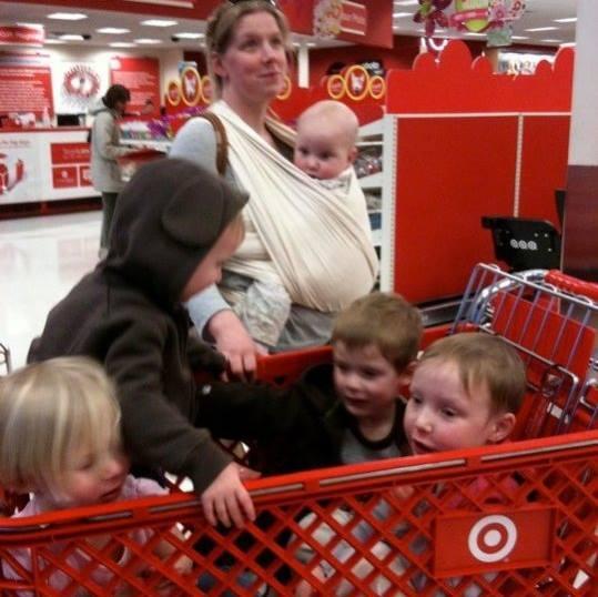 Babywearing Mom Shopping with 5 kids