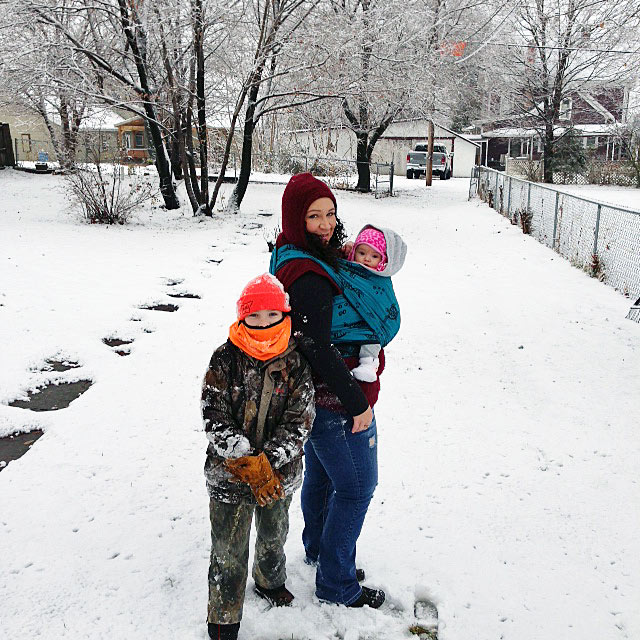 Wrapping Mom in the Snow with Kids