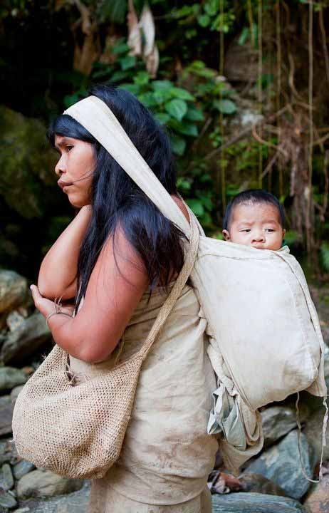Cultural Babywearing - Kogi mother and baby in Columbia
