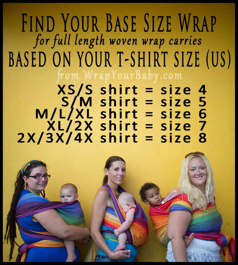 Woven Wrap Sizes by Shirt Size