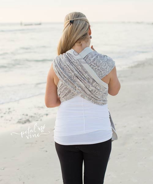 Back view of Kangaroo Carry with Woven Wrap