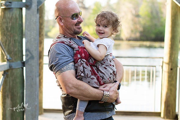 Dad Semi Front Wrap Cross Carry with a Toddler