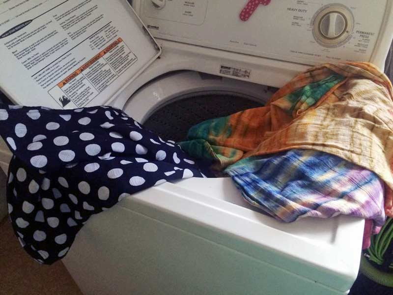 Woven wraps in the washing machine.