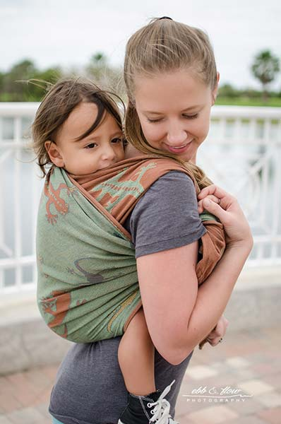 Tied-at-Shoulder Side View of Double Rebozo Carry with a Woven Wrap