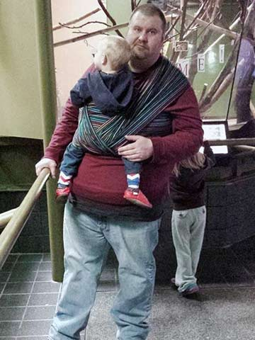 Big and tall babywearing dad with baby in FWCC