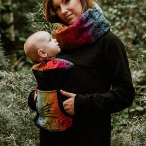 Babywearing Sweatshirt Black with Symphony Rainbow Dark