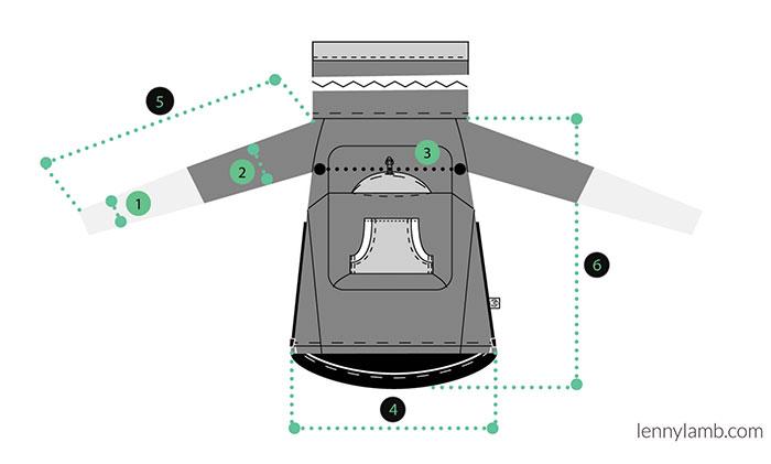 Lenny Lamb Babywearing Sweatshirt Measurements
