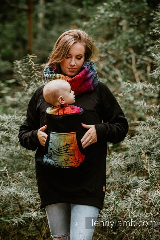 Lenny Lamb Babywearing Sweatshirt Black with Symphony Rainbow Dark