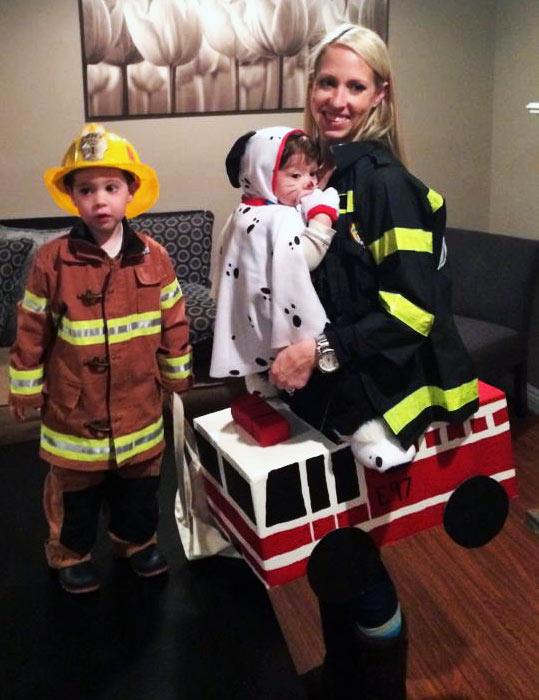 Firemen, dalmation and firetruck babywearing costume