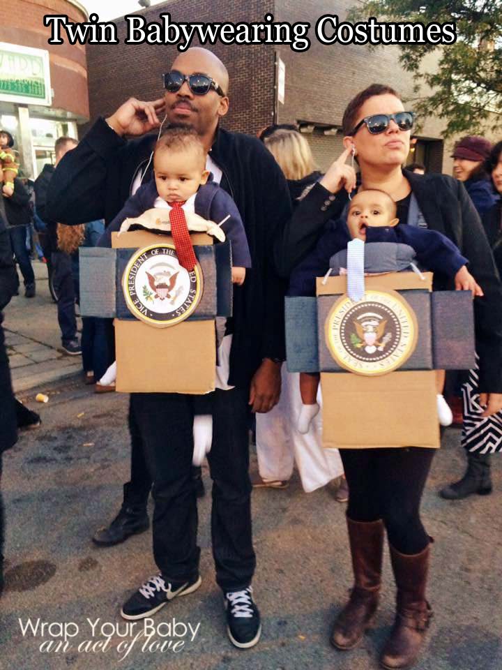 Presidential Babywearing Costume for twins