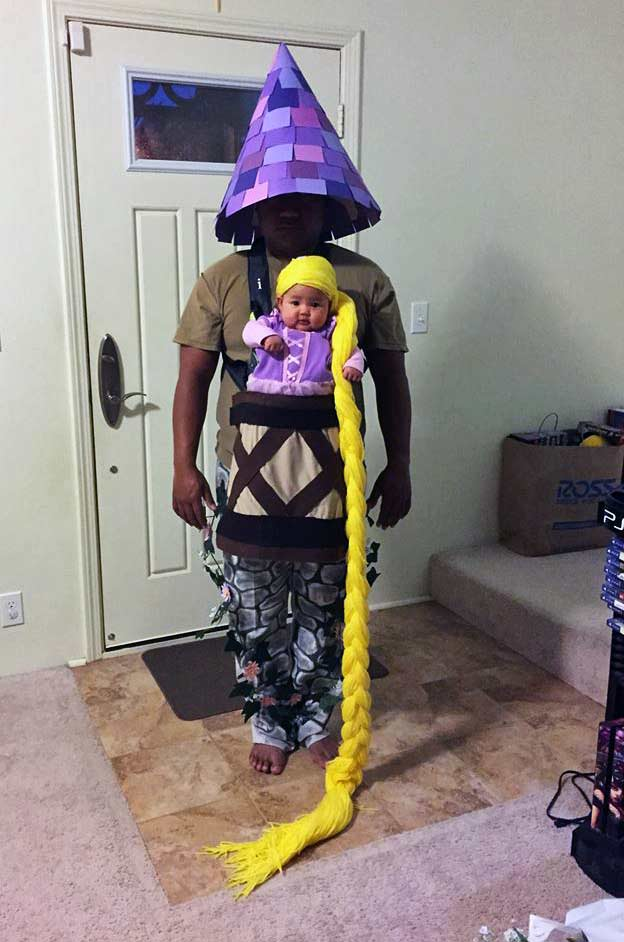 Rapunzel and Dad Tower Babywearing Costume