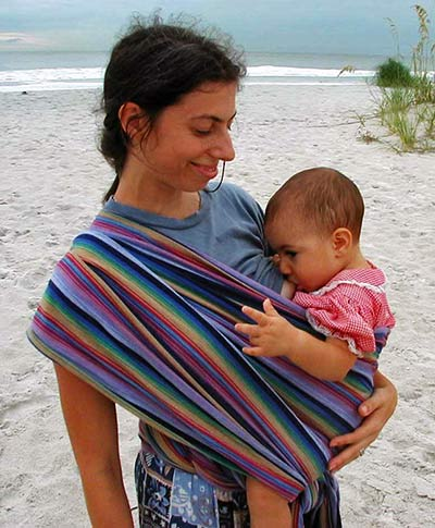 Breastfeeding in Hip Cross Carry with size 4 wrap