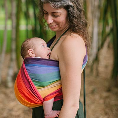 Centered Hip Cross Carry with newborn in a size 2 wrap