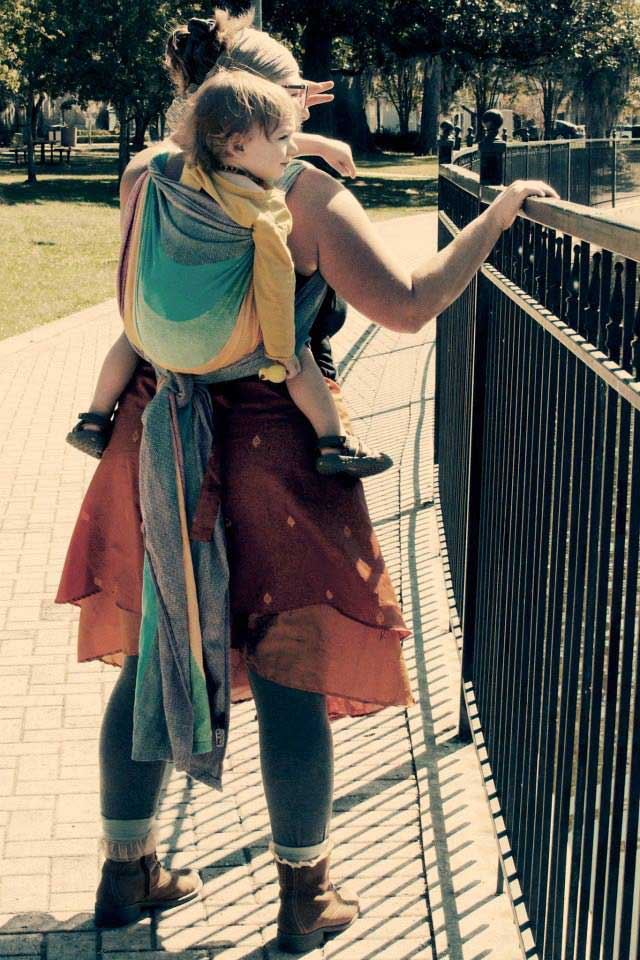 Natalie wears size 16/18 and uses a size 4 Woven Wrap for Rucksack TUB