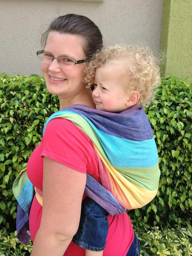 Amanda is pregnant (usually size 14) and using a size 4 Wrap for Toddler Rucksack