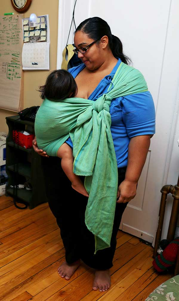 Breastfeeding in a Traditional Sling Carry in size 2 wrap on plus size 290 lbs mom