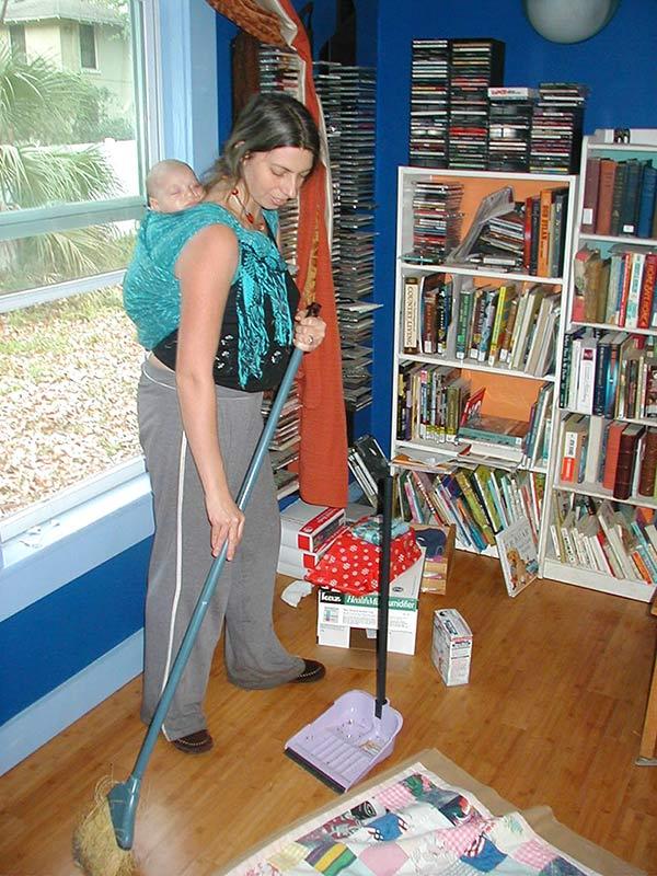 Sweeping While Babywearing