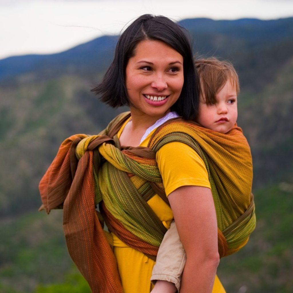 Tibetan Rucksack Carry with Girasol Sherwood Woven wrap