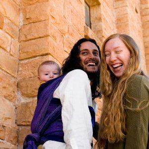 Girasol Wisteria Wrap on Babywearing Dad in Double Hammock Carry